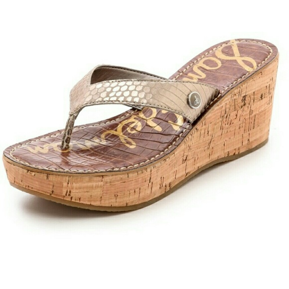 45a3a5965feaa4 Sam Edelman Romy Wedge Snakeskin Cork Sandals. M 5ade80a5fcdc31f1812e7c18